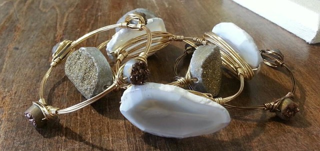 Gorgeous druzy and geode stone bangles availablel only at Gems and Whims Beads and Jewelry.. Stop in Gems and Whims Beads and Jewelry for a terrific selection!