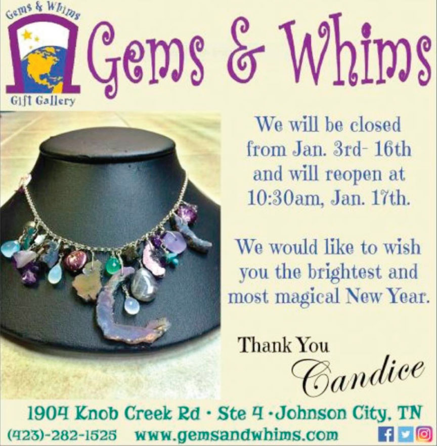 Closing for vacation - Jan. 3 - Jan 16, 2017. Reopening Jan. 17! Come see all new goodies at Gems and Whims Beads and Jewelry!!