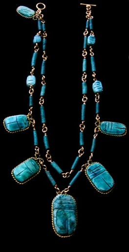 Eqyptian design in genuine turquoise made for a customer. One-of-a-kind example of the quality work created by designers with Gems and Whims Beads and Jewelry,